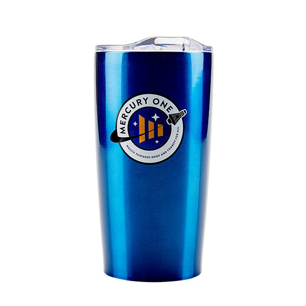 stainless steal tumbler in royal blue with the Mercury One logo printed on the front