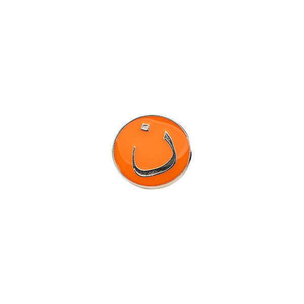 Nun lapel pin in orange and silver