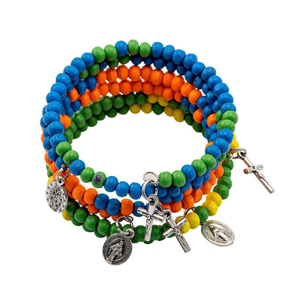 Colored rosary bracelets stacked on top of eachother