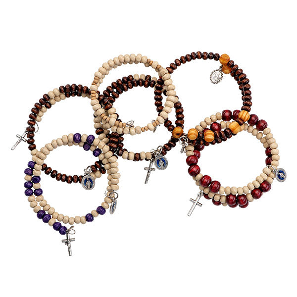 Beaded rosary bracelets in neutral colors