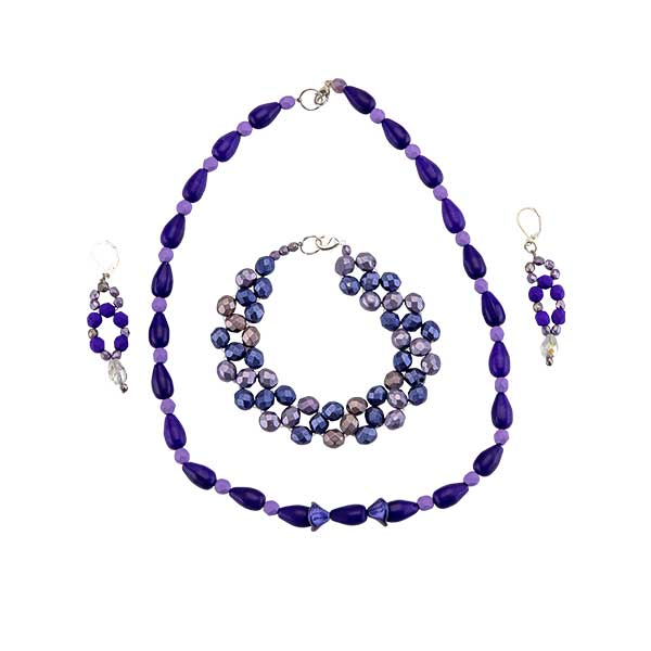Trio beaded necklace, bracelet, and earring set in the color purple