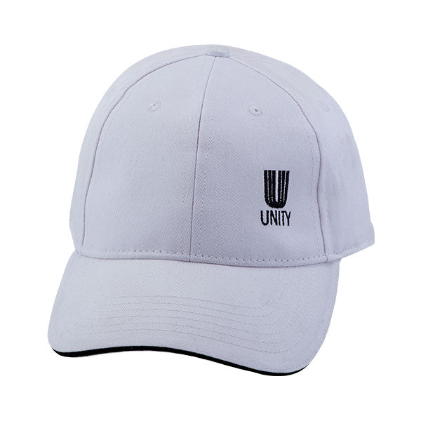 White baseball hate with the Unity logo on the lower lefthand side