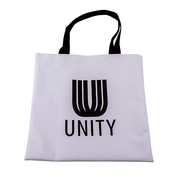 White tote bag that says