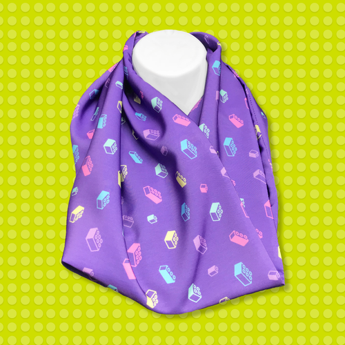 Pastel Bricks Scarf Purple
