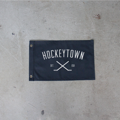 Black Hockeytown Flag