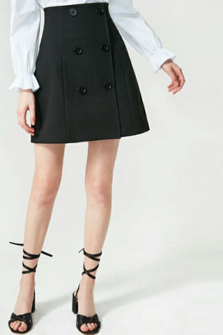 Button Through A-line Mini Skirt