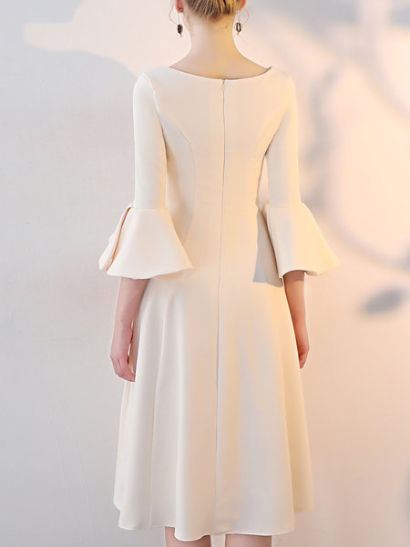 *Bateau/boat neck A-line Bell Sleeve Vintage Solid Midi Dress