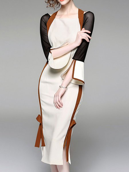 **Bodycon Vintage Bell Sleeve Slit Midi Dress