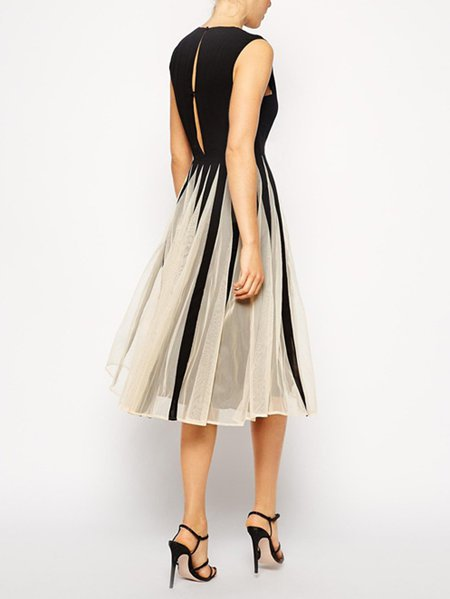 **A-line Sleeveless Vintage Paneled Midi Dress