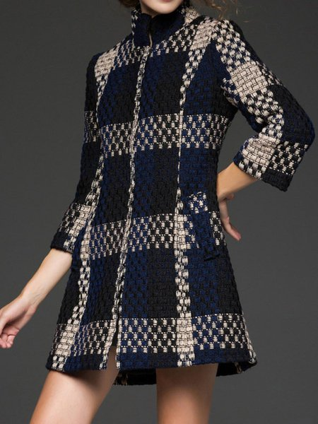 **Multicolor Checkered/Plaid Wool 3/4 Sleeve Coat