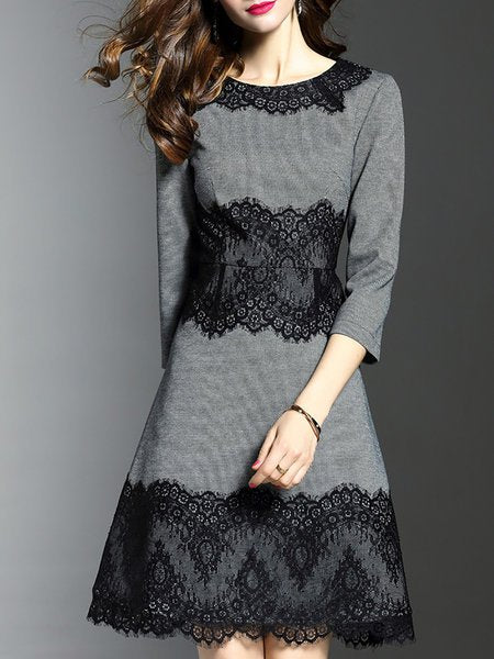 **Grey Sheath Elegant Guipure lace Paneled Midi Dress