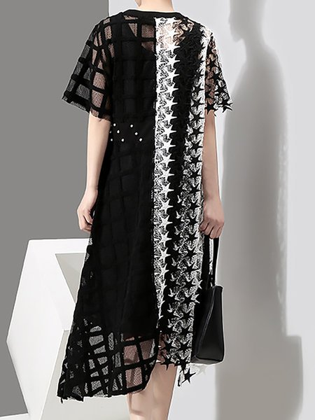 **White-black Daily Mesh Short Sleeve Asymmetric Checkered/Plaid Midi Dress