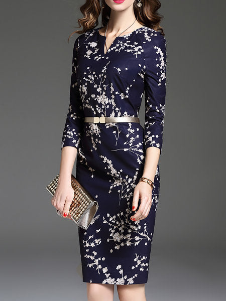 **Royal blue Bodycon Date Elegant 3/4 Sleeve Printed Floral Midi Dress