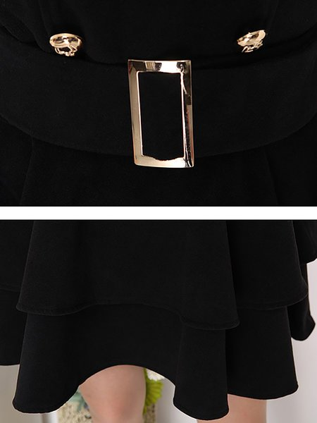 **Stand Collar Black A-line Daily Long Sleeve Buttoned Midi Dress