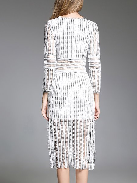 **Sheath Long Sleeve Elegant Lace See-through Look Striped Midi Dress