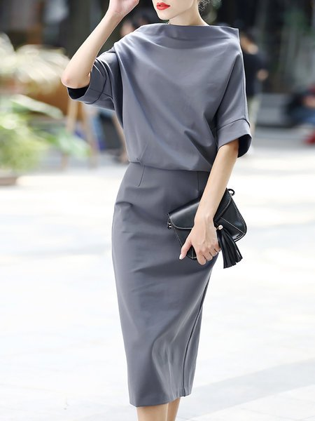 **Solid Elegant Slit Sheath Bateau/boat neck Batwing Work Midi Dress