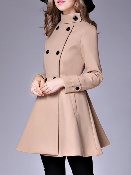 **Long Sleeve Casual Wool Stand Collar Coat