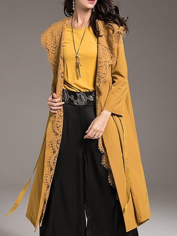 *Casual Long Sleeve Wool Blend H-line Coat