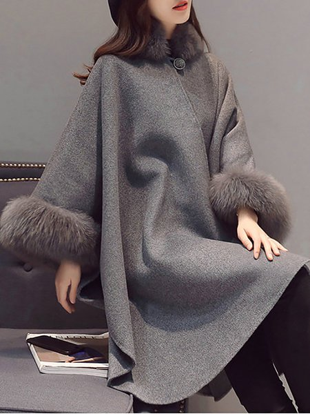 **Gray Shift Buttoned Paneled Fluffy Poncho and Cape