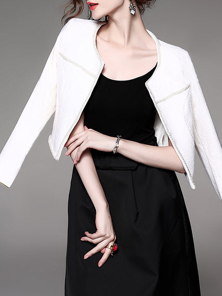 **Solid Elegant Crew Neck Long Sleeve Beaded Coat