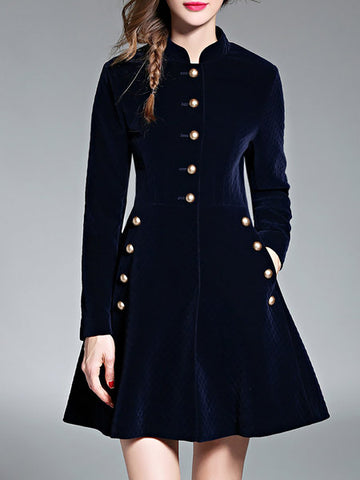 **Shift Long Sleeve Pockets Solid Coat
