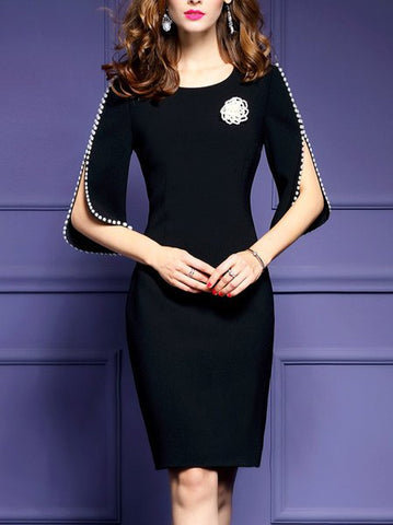**Half Sleeve Vintage Paneled Midi Dress