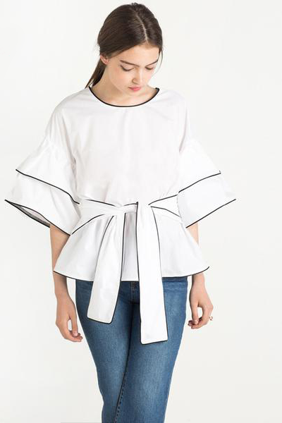.Double Bell Sleeve Contrast Binding Tie at Waist Blouse