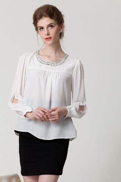 .Jewelry Embellished Long Slit Sleeve Scoop Neck Loose Blouse