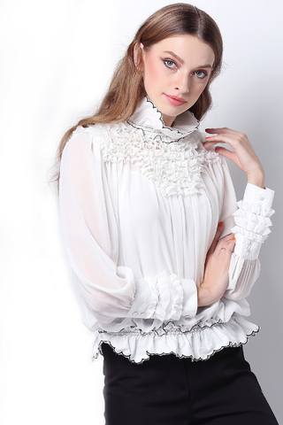 ..Contrast Floral Embroidery Oversized Blouse