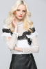 ..Crochet Hollow-out Ruffle Splice Tailored Blouse