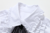 .Frilled Long Bubble Sleeve Blouse with Bow at Neck
