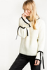 ..Contrast Decorative Straps Bell Sleeves Sweater