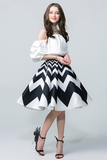 Color Block Satin Geometric Fit-and-flare Midi Skirt