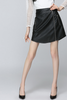 Zipper High Waist Synthetic Leather A-line Mini Skirt
