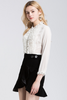 .Embellished Asymmetric Velvet Mini Trumpet Skirt