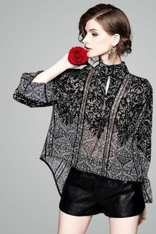 .Embroidery Ruffle Hem Raglan Bubble Sleeve Pleated Loose Blouse