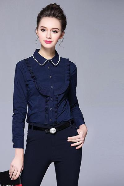 .Imitated Pearl Embellished Pleated Ruffle Blouse