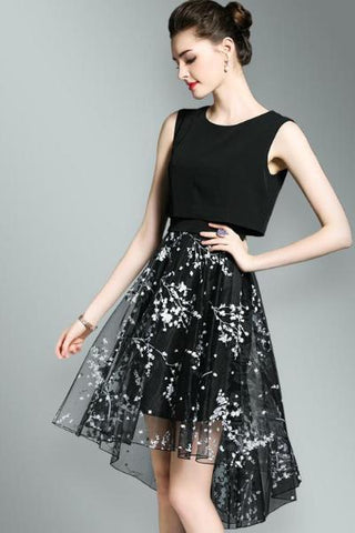 Stripped Pattern Asymmetric A-line Skirt