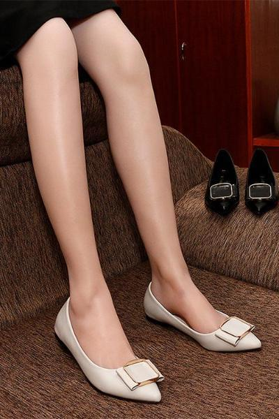 Big Square Metal Plaque Pointed Toe Flats