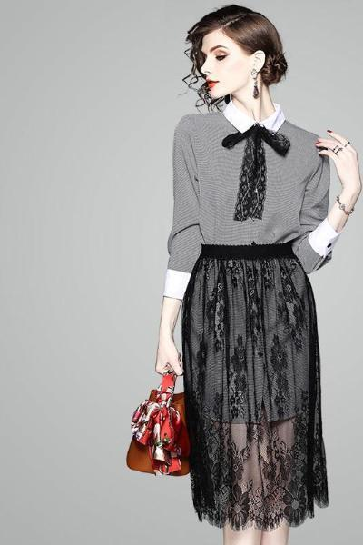 Bow At Neck Hound's Tooth Shift Dress & Black Floral Lace Midi Skirt Set