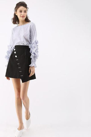 Sequin Embellished Chiffon Mini Skirt