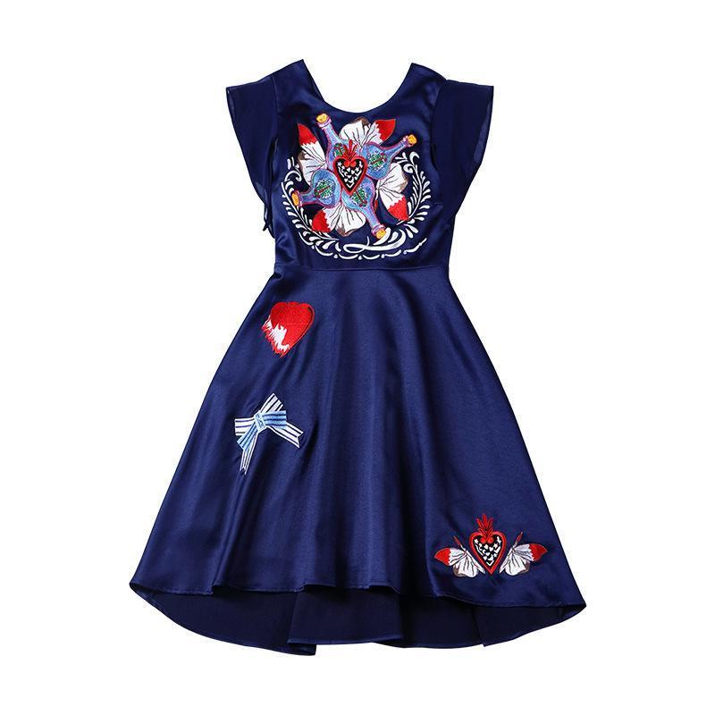 .Flutter Sleeves Multi-Color Embroidery Dress