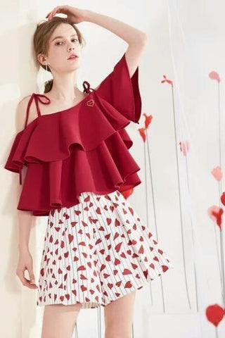 .Polka Draped Bell Sleeves Mesh Blouse & Embellished Velvet Braces Skirt Set