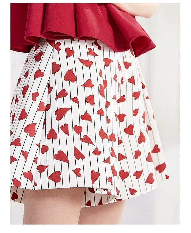 Heart Print Pockets Wide Leg Shorts