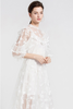.Frill Floral Embroidery Balloon Sleeve Midi Dress