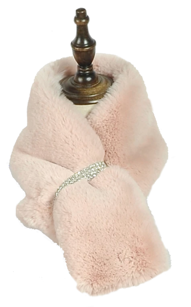 **DIAMOND STRIP FURRY SCARF