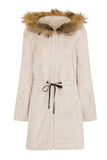 .Fur Trimmed Striped Thick Super Soft Furry Coat