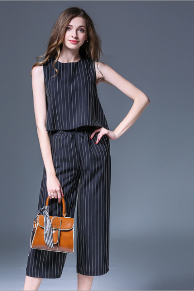 Frilled Back Striped Top + Tie Waist Trousers Set