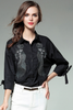 .Embroidered Collared Neck Blouse with Straps at Sleeves