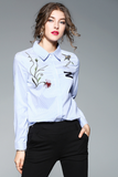 .Colorful Embroidery Collared Neck Blouse